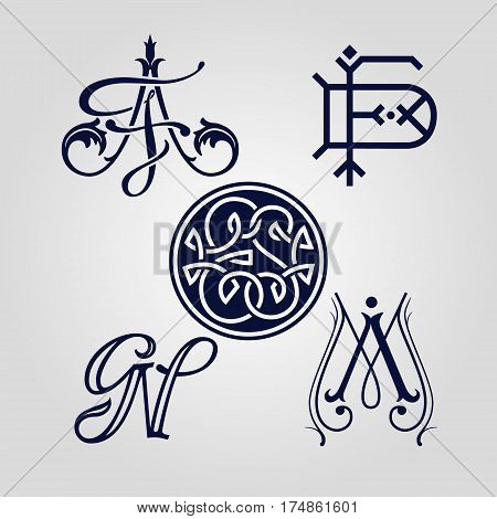 Monograms can be used as ex-libris, logotype ets. The imprint, embroidery, embossing.