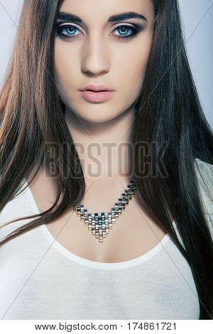 portrait beautiful high key cute girl with long hair blue eyes
