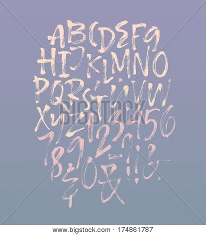 Alphabet letters: uppercase, numbers. Vector alphabet. Hand drawn letters. Letters of the alphabet written with a soft dry watercolor paint brush
