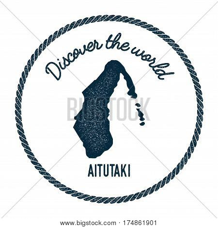 Aitutaki Map In Vintage Discover The World Insignia. Hipster Style Nautical Postage Stamp, With Roun