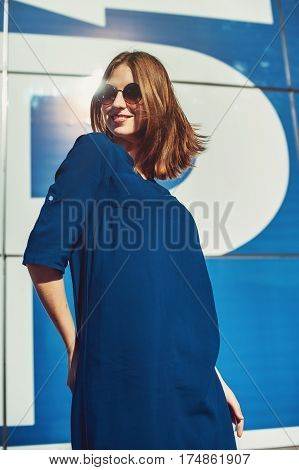Dancing Woman On The Blue Background