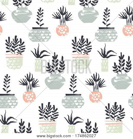 Plants in pots pattern. Dry brush textures