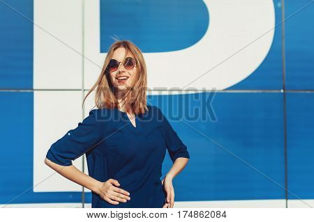 Stylish Smiling Blonde Woman