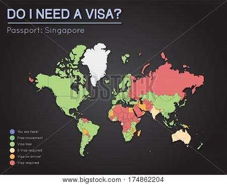 Visas Information For Republic Of Singapore Passport Holders. Year 2017. World Map Infographics Show