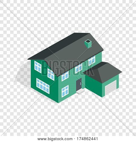 Two storey house with garage isometric icon 3d on a transparent background vector illustration