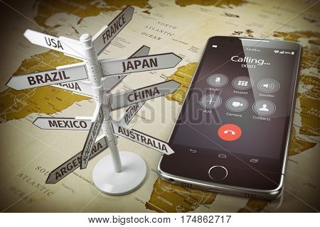Global communication, calls abroad, roaming concept. Mobile phone and signboard with different directions on map of the world. 3d illustration