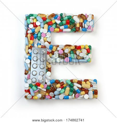 Letter E. Set of alphabet of medicine pills, capsules, tablets and blisters isolated on white. 3d illustration