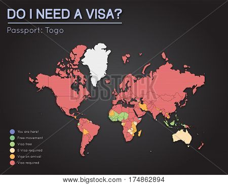 Visas Information For Togolese Republic Passport Holders. Year 2017. World Map Infographics Showing