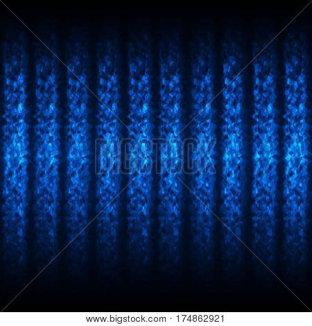 Seamless Glowing Pattern of Blue Waved Lines on Dark Background. Universal Abstraction with Light Neon Effect.