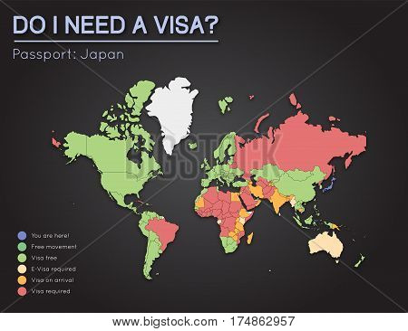 Visas Information For Japan Passport Holders. Year 2017. World Map Infographics Showing Visa Require