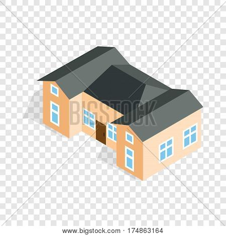 House with two outbuildings isometric icon 3d on a transparent background vector illustration