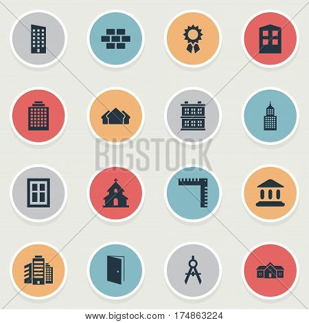 Vector Illustration Set Of Simple Architecture Icons. Elements Popish, Residence, Floor And Other Synonyms Glazing, Shanty And Hut.