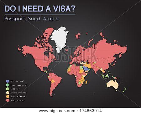 Visas Information For Kingdom Of Saudi Arabia Passport Holders. Year 2017. World Map Infographics Sh