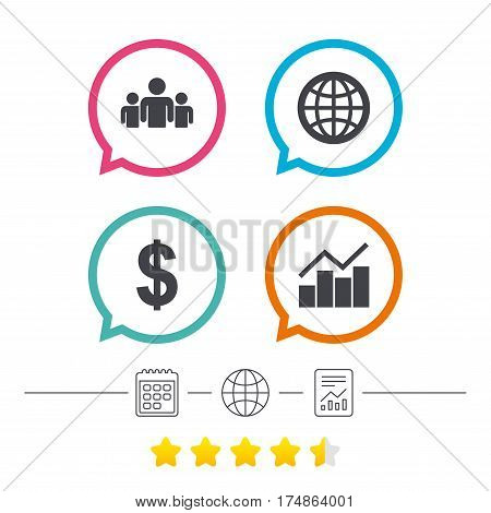 Business icons. Graph chart and globe signs. Dollar currency and group of people symbols. Calendar, internet globe and report linear icons. Star vote ranking. Vector