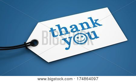 Thank you sign and text customer thanking message on a paper label tag 3D illustration.