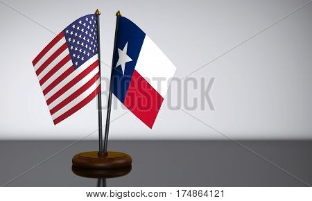 Texas State and USA desk flags 3D illustration.