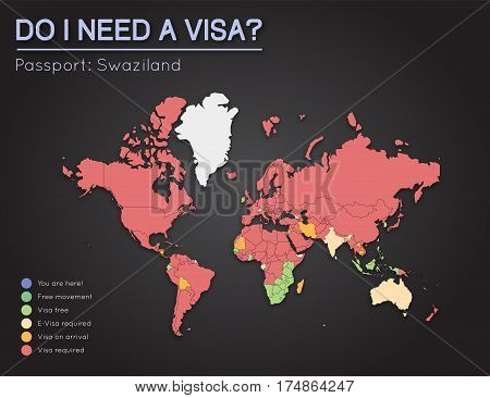 Visas Information For Kingdom Of Swaziland Passport Holders. Year 2017. World Map Infographics Showi