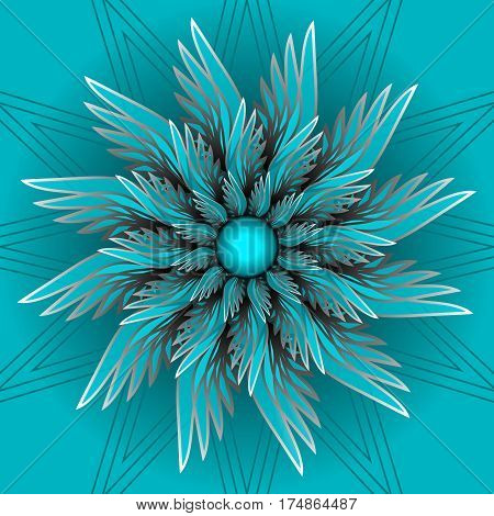 Blue fantasy flower in optical art style. Semitranspatent ornamental shape with 3d illusion vector EPS10
