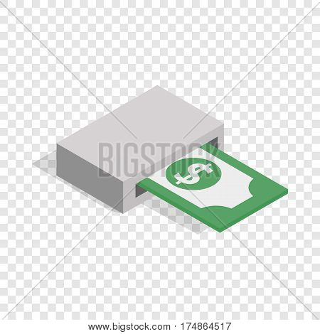 Output of banknotes from atm isometric icon 3d on a transparent background vector illustration