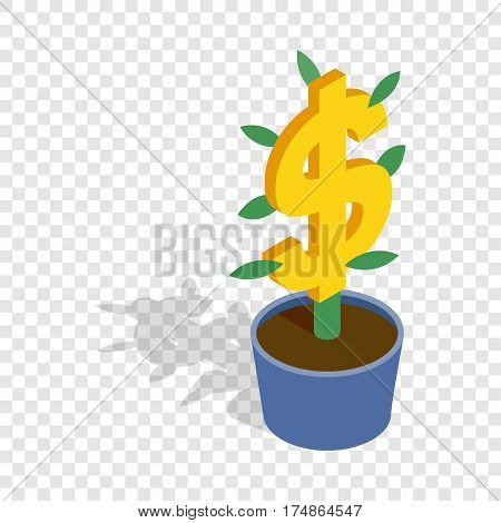 Money tree isometric icon 3d on a transparent background vector illustration