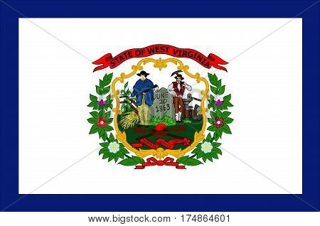 Flag of West Virginia is a state in Southern United States. Vector illustration