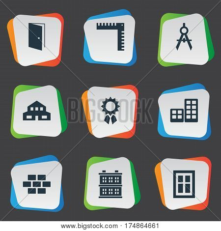 Vector Illustration Set Of Simple Architecture Icons. Elements Length, Flat, Block And Other Synonyms Direction, Rooms And Building.