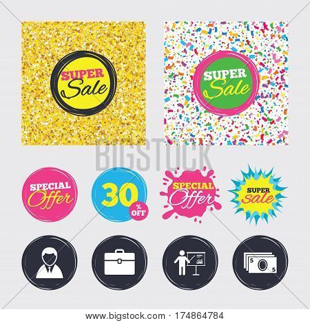 Gold glitter and confetti backgrounds. Covers, posters and flyers design. Businessman icons. Human silhouette and cash money signs. Case and presentation with chart symbols. Sale banners. Vector