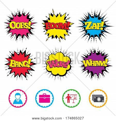 Comic Wow, Oops, Boom and Wham sound effects. Businessman icons. Human silhouette and cash money signs. Case and presentation with chart symbols. Zap speech bubbles in pop art. Vector