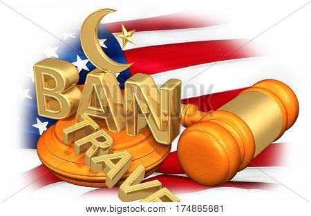 Muslim Symbol On The Word Ban With The Word Travel Cast Aside Legal Concept 3D Illustration