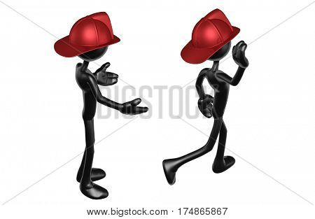 The Original 3D Character Illustration Fireman Walking Away From Another