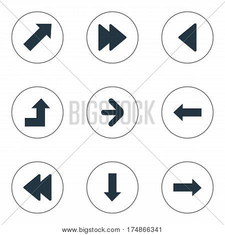 Vector Illustration Set Of Simple Cursor Icons. Elements Right Direction, Downwards Pointing, Left Direction And Other Synonyms Growing, Pointing And Direction.