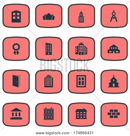 Vector Illustration Set Of Simple Structure Icons. Elements Block, Stone, Reward And Other Synonyms Reward, Scale And Estates.
