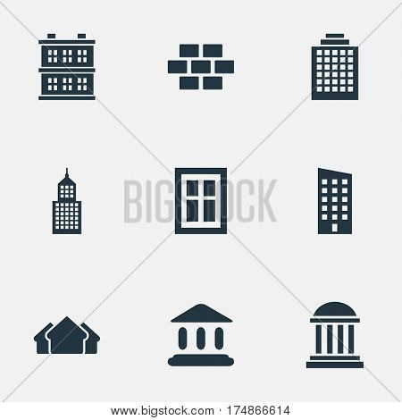 Vector Illustration Set Of Simple Construction Icons. Elements Structure, Shelter, Block And Other Synonyms Construction, Museum And Stone.