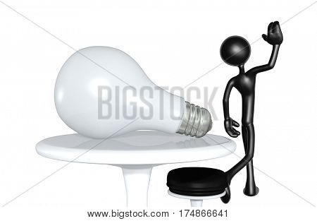 The Original 3D Character Illustration Walking Away From A Giant Light Bulb