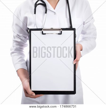 Results And Information Of Treatment. Young Female Doctor Holding Empty Folder With Files Of Desease