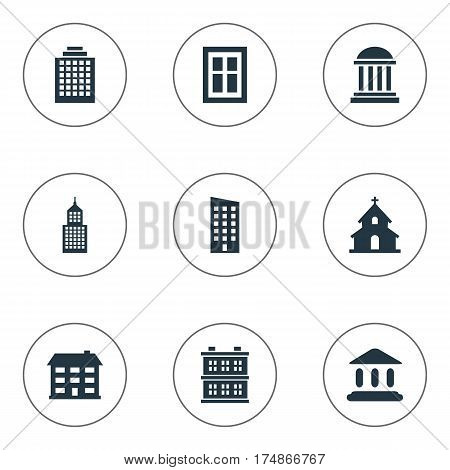 Vector Illustration Set Of Simple Structure Icons. Elements School, Booth, Glazing And Other Synonyms Downtown, Estates And Academy.