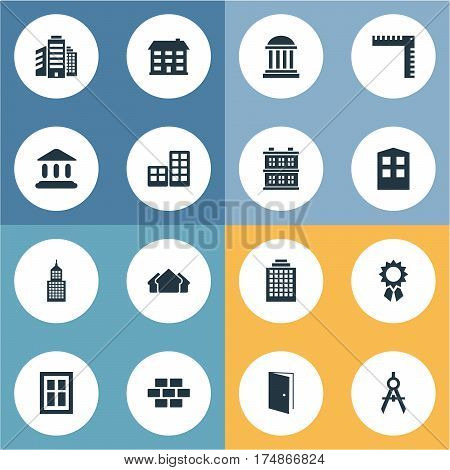Vector Illustration Set Of Simple Structure Icons. Elements Superstructure, Offices, Reward And Other Synonyms Gate, Realty And Ruler.