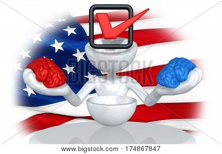 The Original 3D Character Illustration Brain Replaced With Vote Red And Blue Brains In Hands