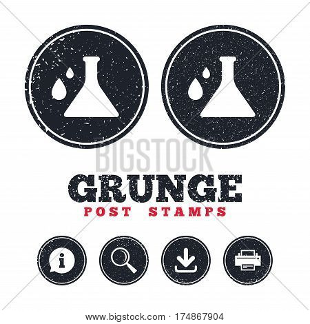 Grunge post stamps. Chemistry sign icon. Bulb symbol with drops. Lab icon. Information, download and printer signs. Aged texture web buttons. Vector