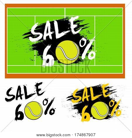 Set Banners Sale 60 Percent With Tennis Ball