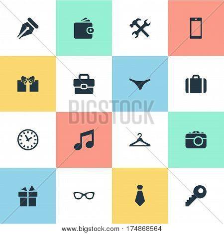 Vector Illustration Set Of Simple  Icons. Elements Present, Cravat, Music And Other Synonyms Keyhole, Billfold And Key.