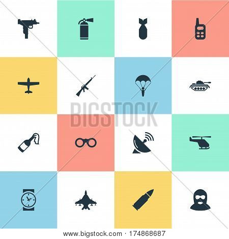 Vector Illustration Set Of Simple Battle Icons. Elements Air Bomber, Molotov, Extinguisher And Other Synonyms Ammunition, Communication And Molotov.