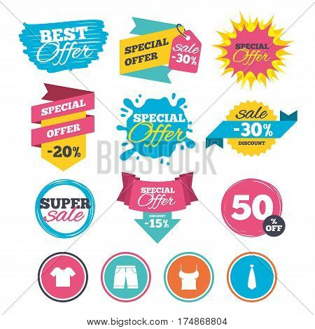 Sale banners, online web shopping. Clothes icons. T-shirt and bermuda shorts signs. Business tie symbol. Website badges. Best offer. Vector