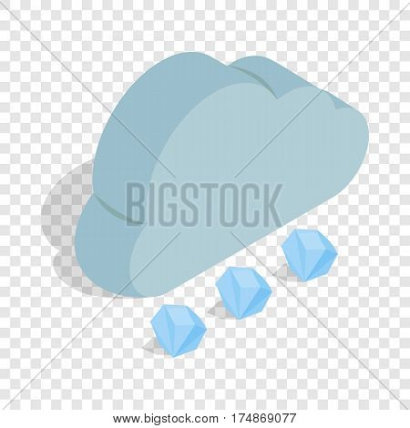 Cloud and hail isometric icon 3d on a transparent background vector illustration