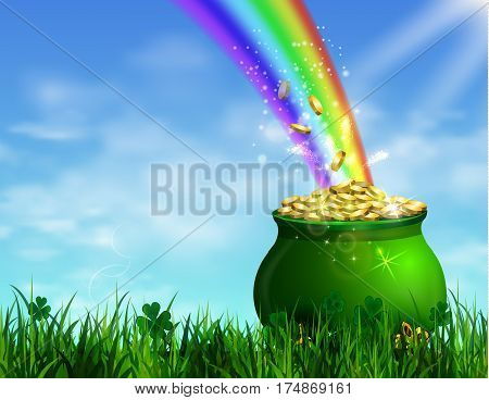 St. Patrick s Day symbol green pot full of gold coins and rainbow Vector illustration