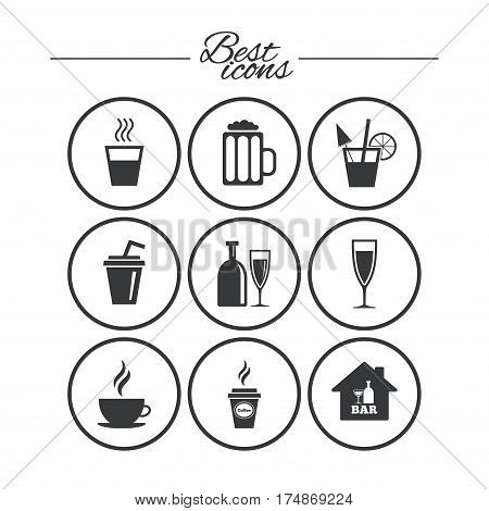 Cocktail, beer icons. Coffee and tea drinks. Soft and alcohol drinks symbols. Classic simple flat icons. Vector