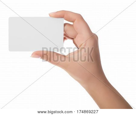 Woman Hand Hold Virtual Business Card, Credit Card Or Blank Paper Isolated On White Background.clipp