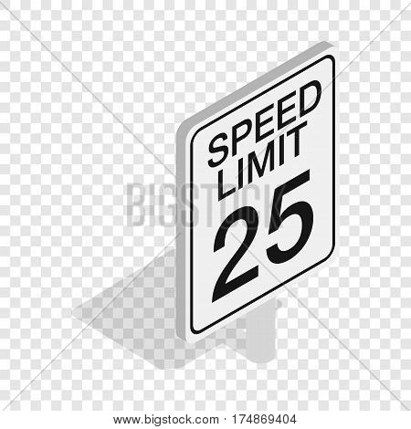 Speed limit traffic road sign isometric icon 3d on a transparent background vector illustration