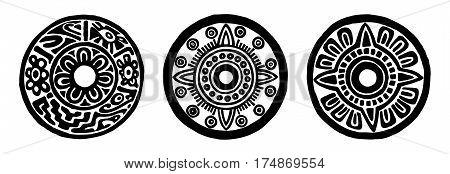 Ancient maya circle flowers black and white