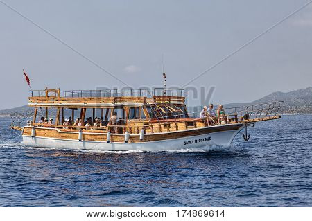 Antalya Turkey - 28 august 2014: Blue cruise journey by traditional wooden yachts along coast Antalya in Mediterranean sea.